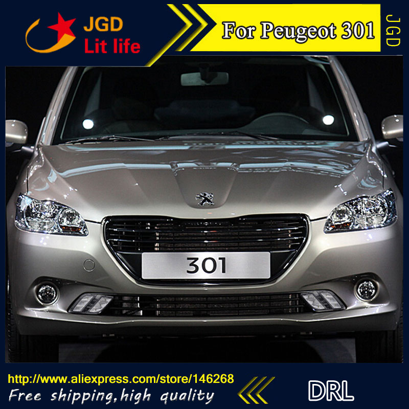 Free shipping ! 12V 6000k LED DRL Daytime running light for Peugeot 301 2014-2016 fog lamp frame Fog light Car styling