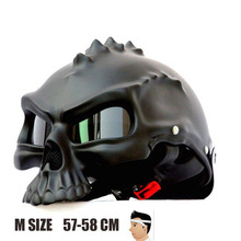 M Size Dual Use Skull Motorcycle Helmet Retro Capacete Casco Motorbike Half Face Helmet Matte Black free shipping free shipping authentic retro ls2 of561 motorcycle half helmet electric car helmet warm winter helmet safety silver