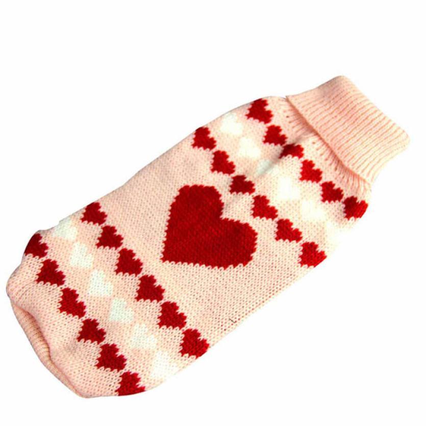 Winter Dog Clothes Stylish Handmade Sweet Heart Pet Crochet Outfits ...