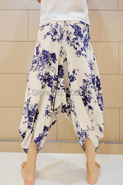 Blue-and-white Low Dropped Crotch Linen Harem Pant Mens Original Design Fashion Flower Loose Casual Summer Brand Beach Trousers 2015 HOT NEW (8).jpg