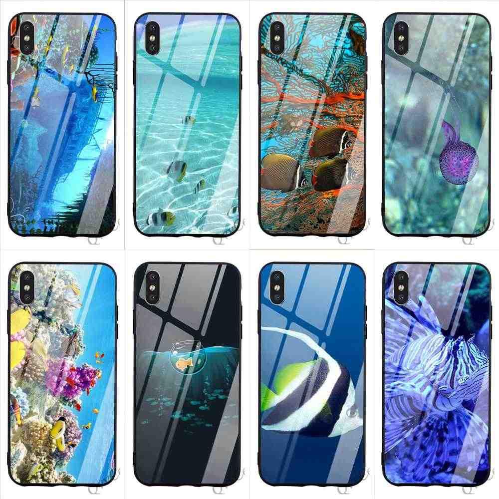 Slim Ikan Laut Tempered Glass untuk iPhone 6S Plus Cover 8 XR X 7 6 5 5S SE X Max Mencakup Kulit