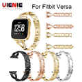 Hot Crystal Stainless Steel Watch Band Replacement Metal Bracelet Adjustable Wrist strap for Fitbit versa Bands with Rhinestone