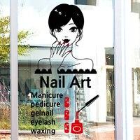 New Arrival Nail Art Vinyl Wall Decal Sexy Girl Nail Mural Wall Sticker Nail Shop Salon Window Glass Sticker Room Decoration