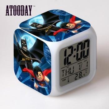 Batman 3 Alarm Clock Led Light 7 Color Change Horse Desk Watch Square Table Vintage Table Bedside Led Digital digital clock