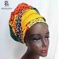 Kente cabeça envoltório cabeça wrap headwrap lenço Africano ankara dashiki cera batik impressão puro algodão tow tamanho 44*34 e 64*13 polegadas