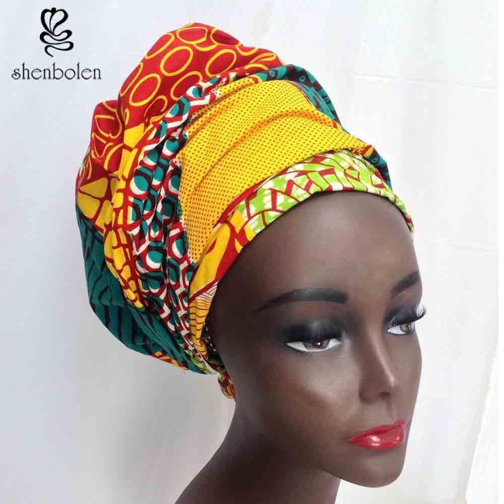 Kente head wrap African lady Scarf kerchief ankara wax fabric Traditional dashiki printing shenbolen pure cotton
