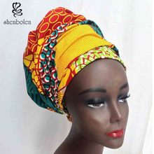 Kente головной обруч в африканском стиле леди шарф платок Анкара из парафинированной ткани традиционные Дашики печати shenbolen Чистый хлопок 70 дюймов * 20 дюймов