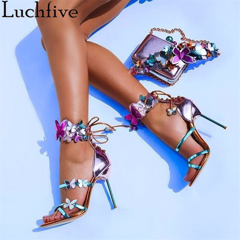 Newest summer sandals Mixed Colors Sweet butterfly decor Harmony Metallic Leather Turquoise strap belt Zapatos Mujer