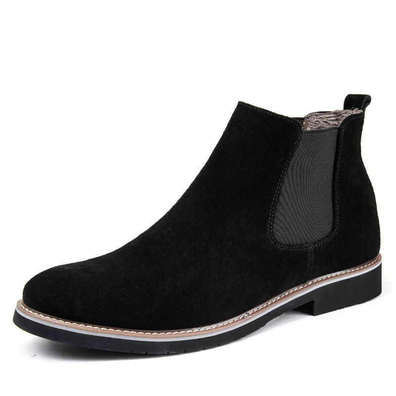 DUDELI Chelsea Boot Men Suede Hombre Boots Low Heel Leather