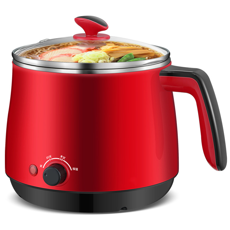 Household Dorm room Electric Skillet Stainless Steel Red Mini Electric Cooking Pot 1.5L Can be insulated Electric Caldron