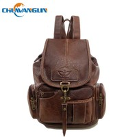 Chuwanglin Fashion college style school bags vintage women's leather backpacks casual waterproof travel bags A091803