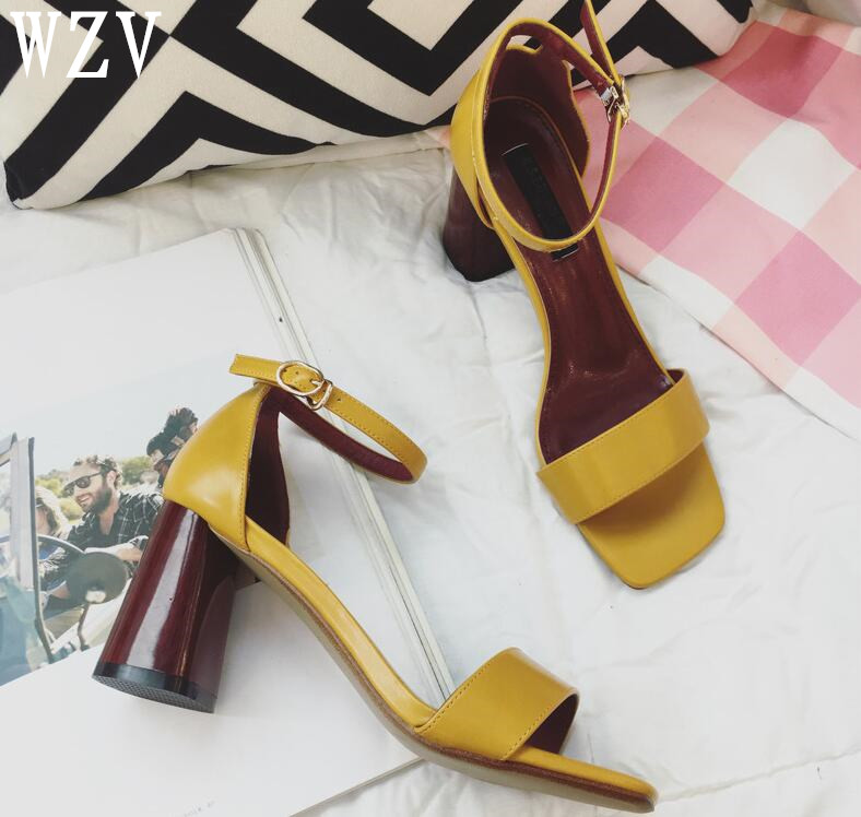 Women Sandals Fashion Summer Chunky heels shoes woman Buckle Strap High Heels Lady Pump Woman Shoes Black white yellow B395 селедочница queens crown узор 20 х 9 см