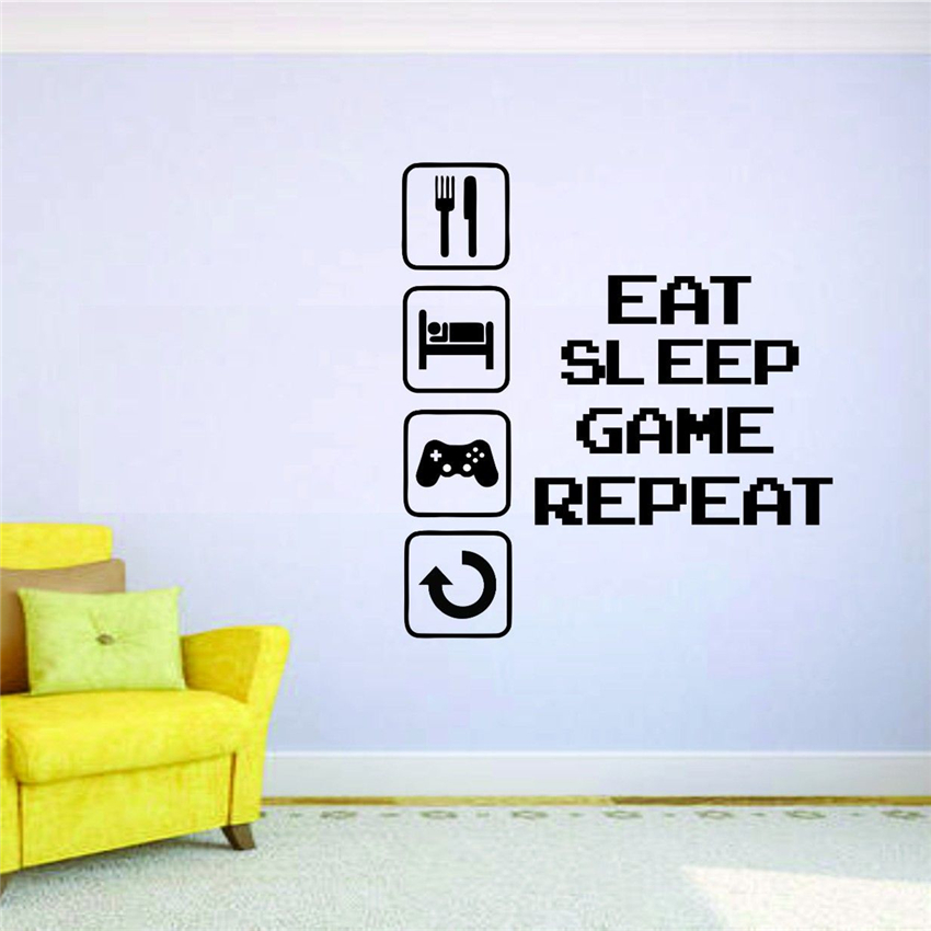 Gamer Wall Mural Vinyl Decal Sticker Decor Eat Sleep Repeat Joystick Video  Game Free Shipping Wall
