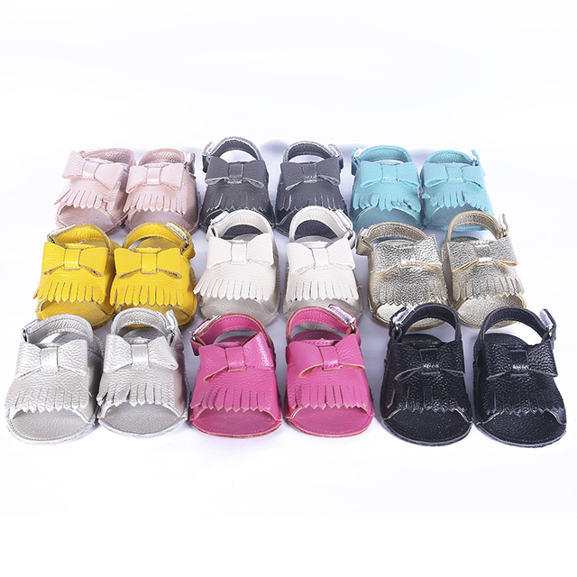 New Cowhide Leather Baby girls Sandals Bow Baby moccasins Hollow out Toddler Baby girls Shoes Free shipping