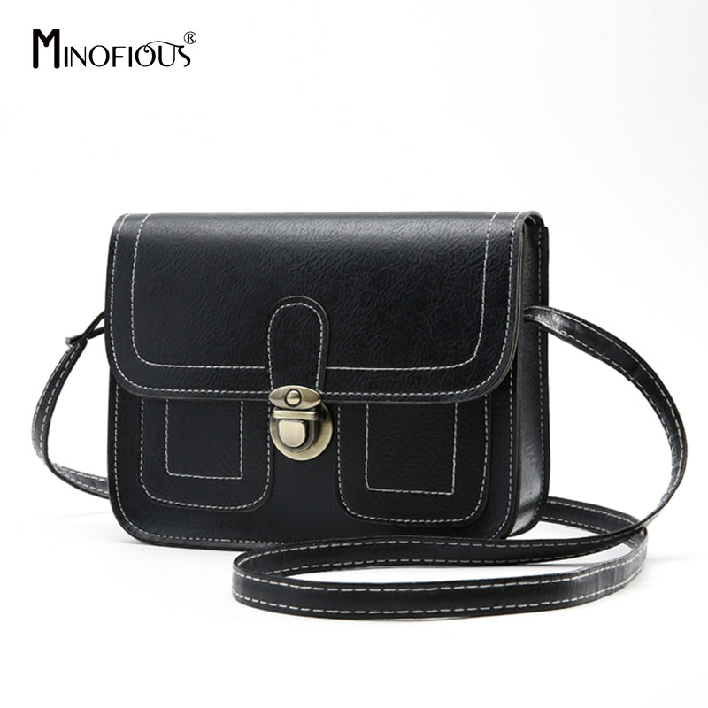 MINOFIOUS  Fashion Casual Phone Coin Shoulder Bag Small Women PU Leather Messenger Bags Solid Clutch Flap Crossbody Mini Bag