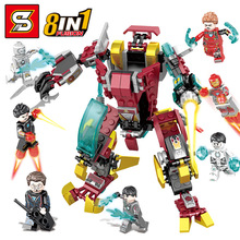 8 IN 1 Marvel Avengers Endgame Super Heroes Iron Man War Machine Buster Figures Building Blocks Bricks Toys Compatible Sermoido