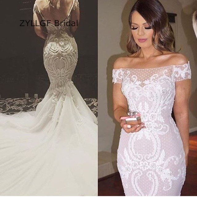 965afbb307b ZYLLGF Bridal Sexy Mermaid Vintage Wedding Dress Bridal Gown Off Shoulder  Country Wedding Gowns Large Size With Appliques TN15