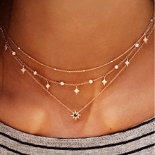 Tocona Charm Shiny Gem Crystal Star Bead Chain Tassel Pendant Multilayer Clavicle Neckace Women Boho Gold Party Jewelry Gift6568