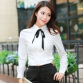 2016 new OL commuter slim V neck white color conjoined blouses long-sleeved body shirt women's clothing women's shirt