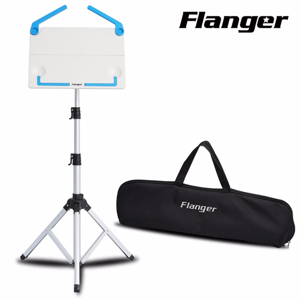 Black White Flanger FL 05 Professional Foldable Small Music Stand Tripod Stand Holder With Carrying Bag