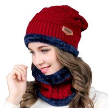 Unisex Winter vrouwen Hoed Warme Pluche Gevoerd Breien Hoed Cap en Halswarmer Circle Loop Scaves Sjaal Styling Tools(China)