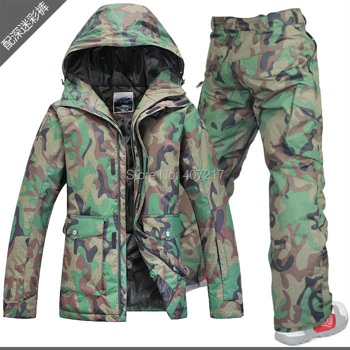 2015 Gsou snow mens ski suit army green camouflage ski jacket and camouflage pants male skiing snowboarding suit waterproof 10K