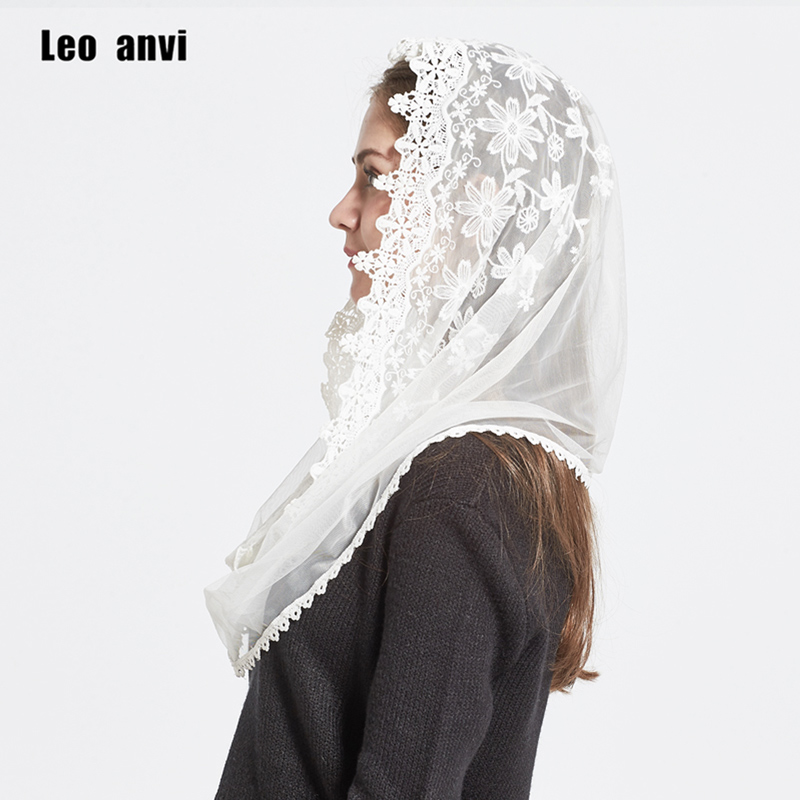 Leo anvi 2018 Dentelle Infinity écharpe femmes Ivoire blanc Mantille Traditionnel catholique chapelle voile hijab écharpe et wraps musulman hijab