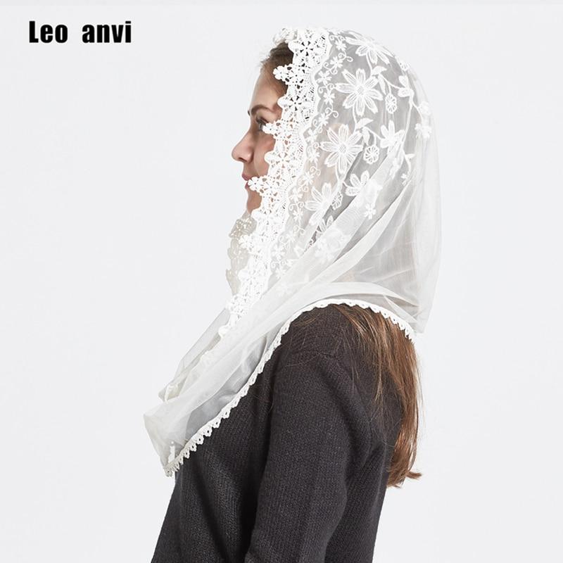 Leo Anvi 2019 Lace Infinity Scarf Women Ivory White Mantilla Traditional Catholic Chapel Veil Hijab Scarf And Wraps Muslim Hijab