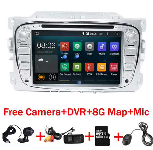 7HD 1024X600 Android 6.0 Car Radio DVD GPS For Ford Mondeo C-max S max Galaxy Wifi 4G Bluetooth Radio RDS SD Free GPS map DVR