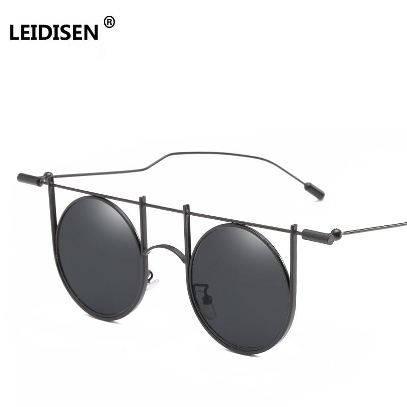 LEIDISEN Steampunk Round Sunglasses Men Women Brand Designer Sunglasses Metal Punk 2018 NEW Glass Oculos Vintage Top Quality
