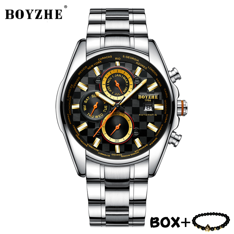 Luxury Men Watch BOYZHE Mechanical Watches Waterproof Wristwatch Luminous Automatic Self-Wind Stainless steel Business Watch Men seagull pvd with stainless steel self wind 3 hands exhibition back automatic men s business watch m149sk