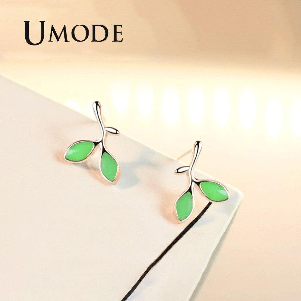 UMODE Cute Burgeon Shape Stud Earrings for Women New 2018 Fashion Earrings Jewelry Green Stone Little Leaves Trendy Gift AUE0422 in Stud Earrings from Jewelry Accessories
