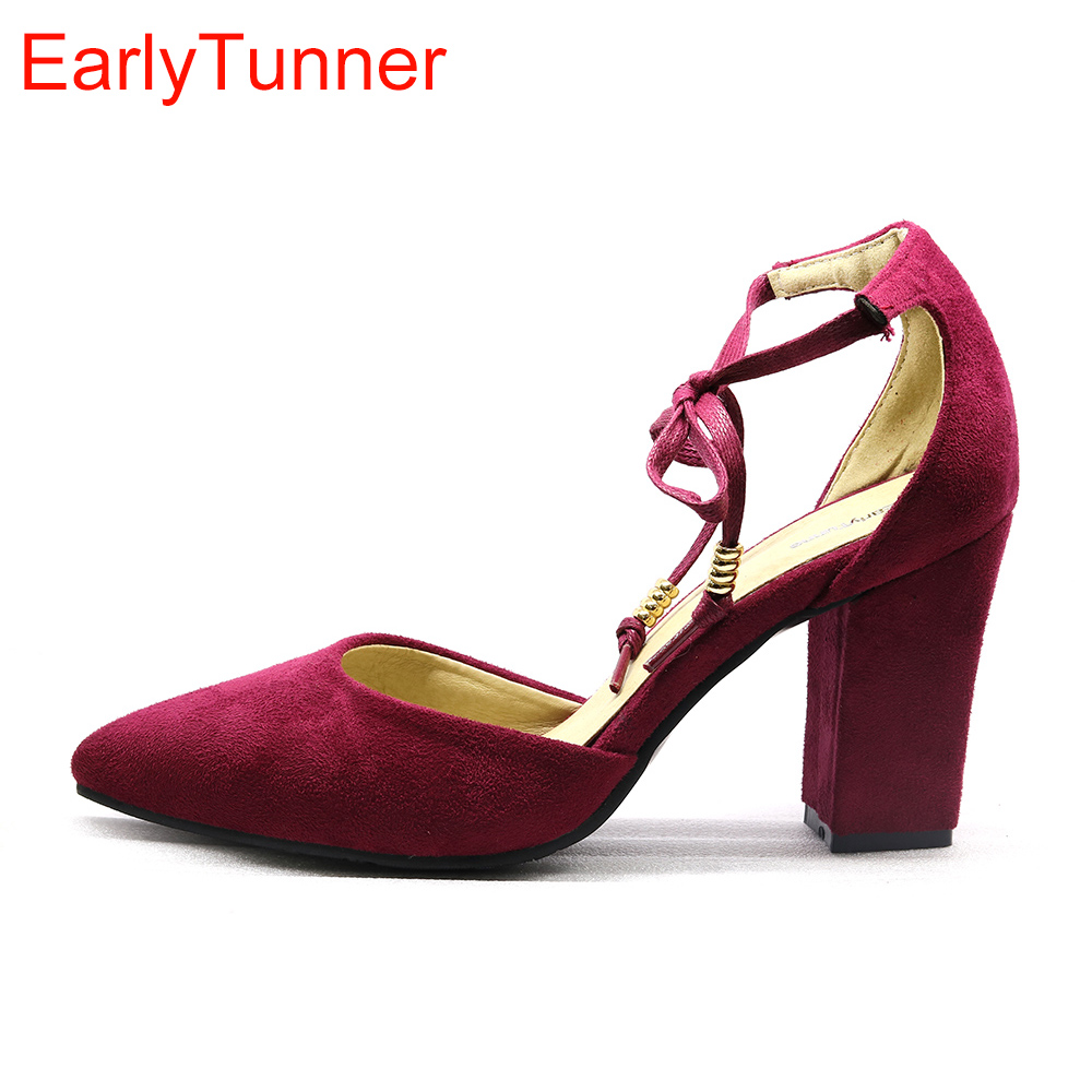 28297c0d7995 Brand New Summer Hot Sales Sweet Red Blue Women Nude Office Sandals Chunky Heels  Lady Casual