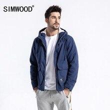 SIMWOOD ブランド冬のジャケットの男性スリムフィットファッションフード付きベルベットパーカーメンズプラスサイズの服男性 180531