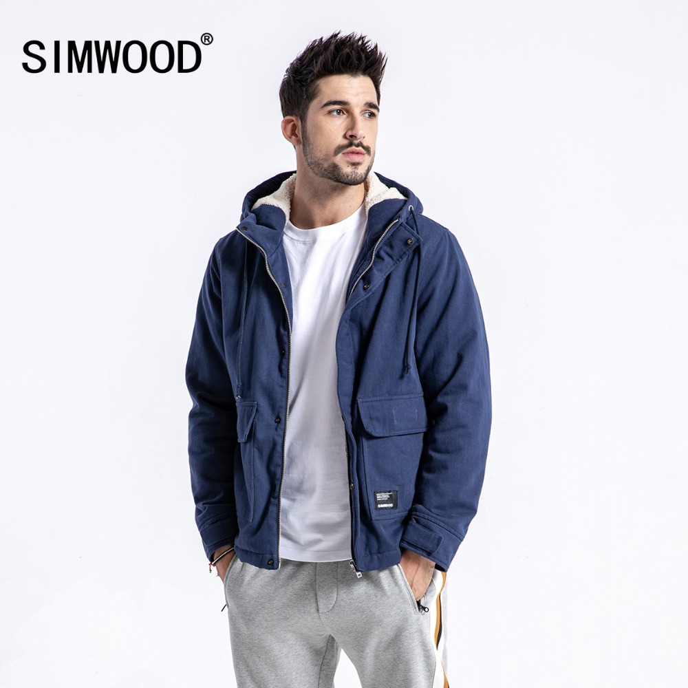 SIMWOOD Brand Winter Jacket Men Casual Slim Fit Thick Coats Fashion Hooded Velvet Parka Mens Plus Size Clothes Male 180531