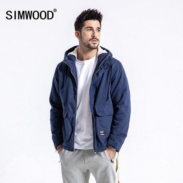 00ce62ac2cf SIMWOOD Brand Winter Jacket Men Casual Slim Fit Thick Coats Fashion Hooded  Velvet Parka Mens Plus