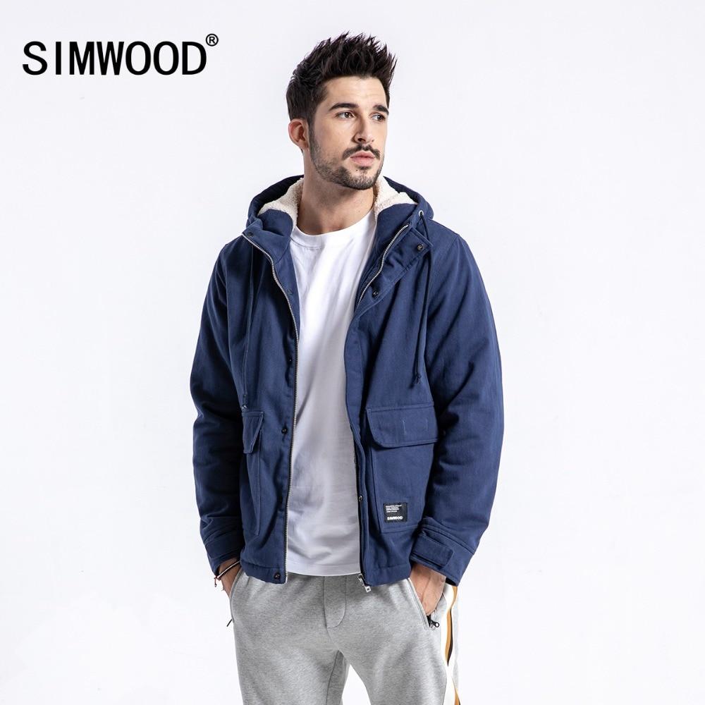 SIMWOOD מותג חורף מעיל גברים מזדמן Slim Fit עבה מעילי אופנה סלעית קטיפה Parka Mens בתוספת גודל בגדי זכר 180531