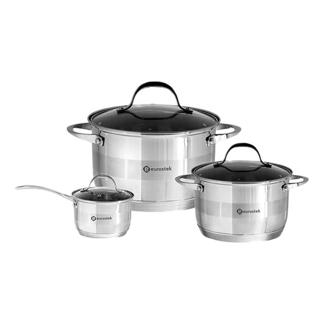 Набор посуды Eurostek ES-1204 (6 предметов, нержавеющая сталь 18/10, крышки из жаропрочного стекла литые цинкованные ручки, шкала уровня воды)