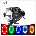 125W Motorcycle Headlight Motorbike CRE-E U7 5 Color Circles DRL Angel Eyes LED Waterproof Driving Fog Spot Head Light Lamp