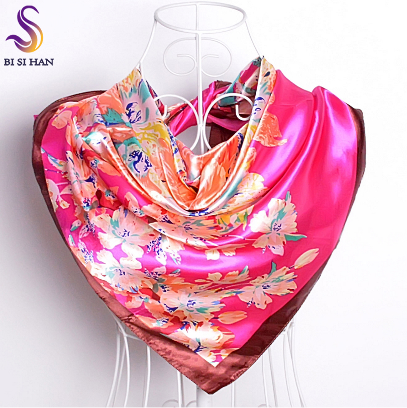 [BYISFA] Ladies Silk Scarf Wraps Europe Style Design Satin Big Square Scarf Printed New Brand Women Blue Silk Scarf  90*90cm