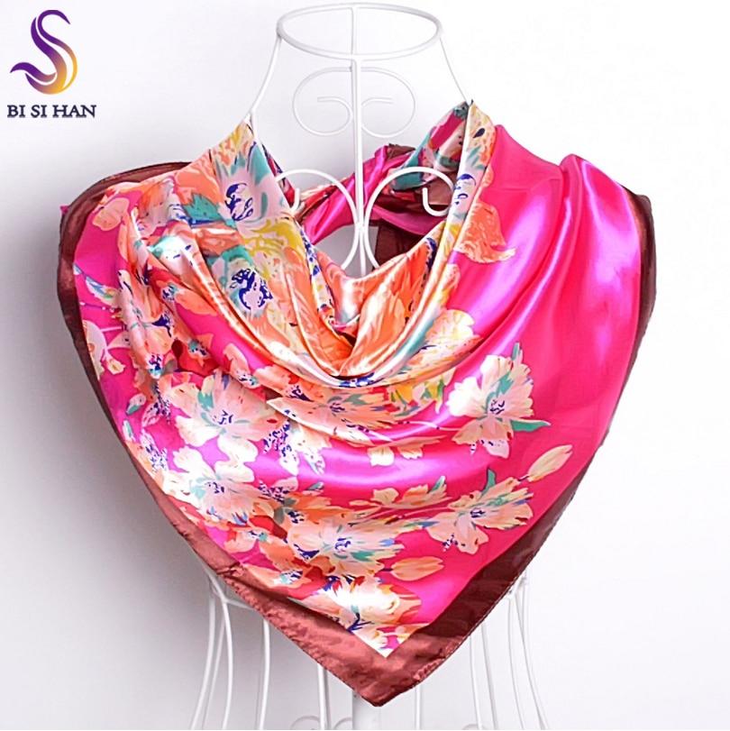 [BYISFA] Ladies Silk Scarf Wraps Europe Style Design Satin Big Square Scarf Printed New Brand Women Blue Silk Scarf  90*90cm