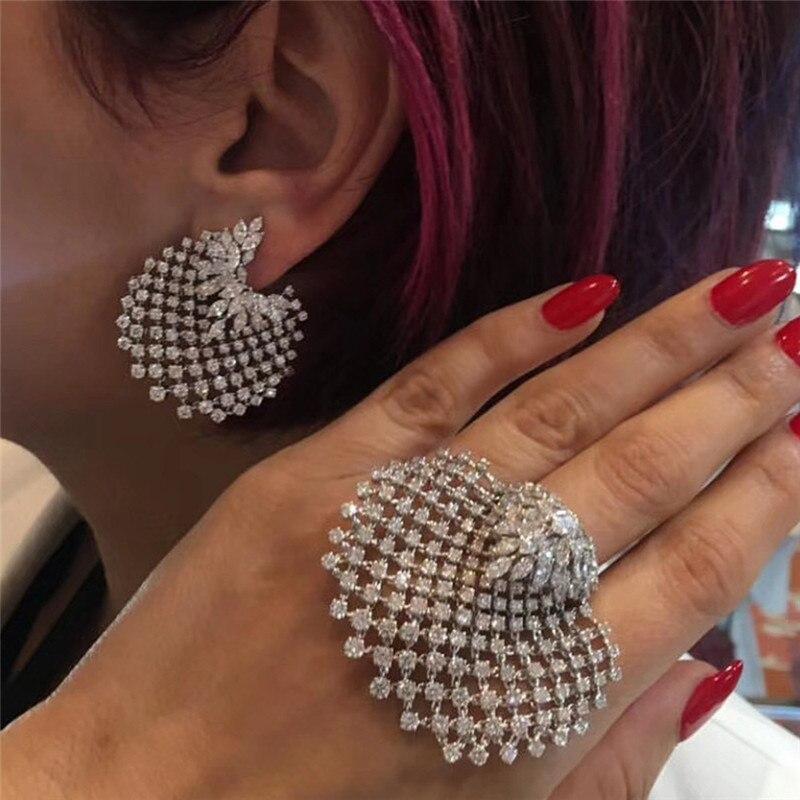 Ahmed Mode Böhmischen Volles Strass Gold Silber Shell Ohrring & Ring Set für Frauen Neue Trend Statement-Schmuck-Set Geschenke