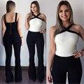 Black white costura Macacão Europa Novo 2016 sexy Macacão geral das mulheres Sling Halter moda Macacão calças macacões Cintas