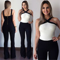 Black white stitching Rompers Europe New 2016 sexy Jumpsuit women's overall Sling Halter fashion Jumpsuit pants Straps coveralls