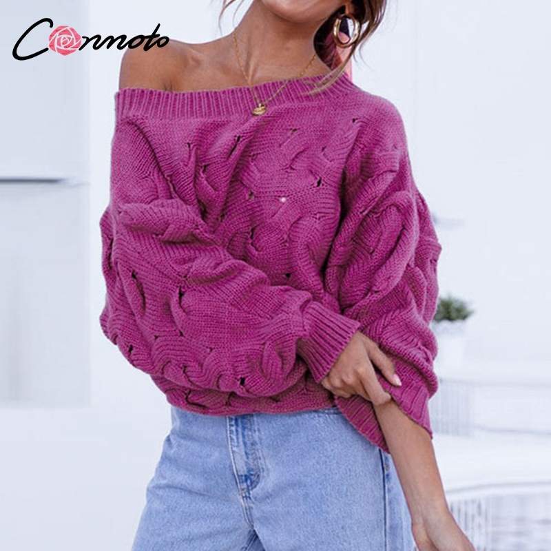 Conmoto Chic High Fashion Women Sweaters Pullovers Off Shoulder Lantern Sleeve Sweater Casual Knitted Winter Jumpers