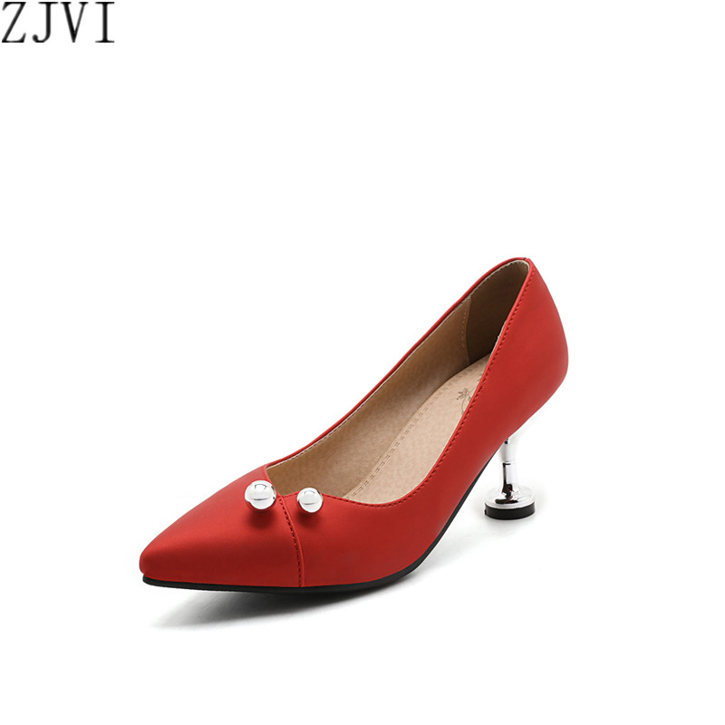 ФОТО ZJVI woman pointed toe high heels pumps women nubuck black beige red fashion spring autumn shoes womens women's wedding Pumps