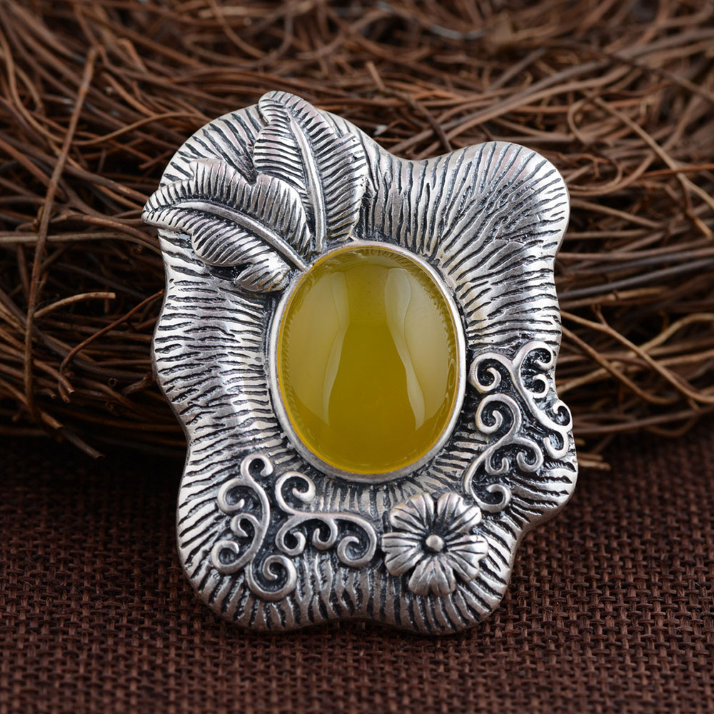 цена FNJ 925 Silver Flower Pendant New Fashion Yellow Chalcedony Pure S990 Solid Thai Silver Pendants for Women Men Jewelry Making
