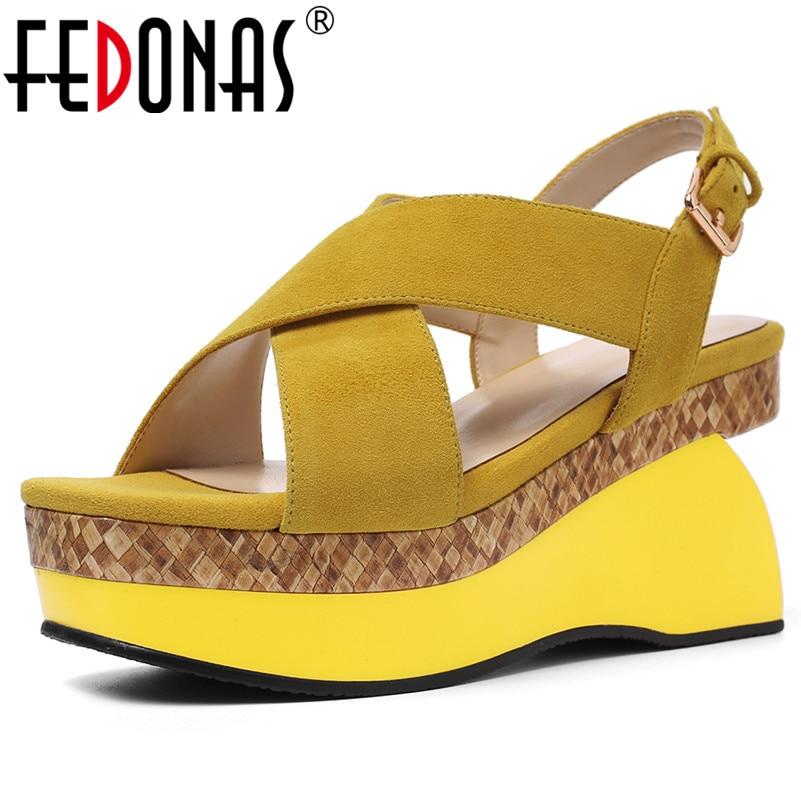 FEDONAS 2019 Brand Women Round Toe Platform Buckle Sandals Solid Sheepskin Strange Style Party Office Night