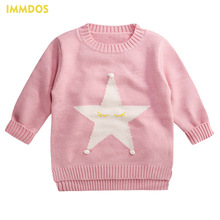 IMMDOS Kids Winter Cardigan Girls Sweaters O-Neck Sweater Children Long Sleeve Pullover Christmas Fashion 2018 New Year Clothing