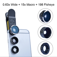Sovawin Fish Eye Lens three in 1 Common Cellular Cellphone Lenses zero.63X +Broad Angle /15X Macro /198 Diploma +Macro Fisheye Lens Equipment Clip